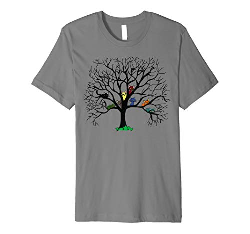 Bunte Katzen auf dem schwarzen Baum Art Graphic T-Shirt - T-shirts Graphic Niedlich Damen