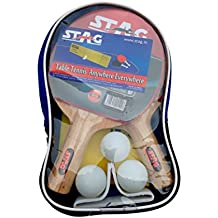 Stag Table Tennis Kit with Two Racquets, Three Balls and Net Set (color may vary)