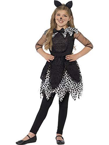 Halloweenia - Mädchen Kinder Kostüm Mitternachtskatze Katze mit Kleid Schwanz und Katzenohren, Cat with Dress Tail and Ears, perfekt für Karneval, Fasching und Fastnacht, 122-134, Schwarz (Mit Mädchen Katzen-kostüme)