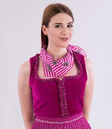 SIX Halstuch: Entzückendes Tuch mit Vichy-Karo, 100% Baumwolle, passend zum Trachten-Outfit, Damenschal für jedes Fest, 65x65 cm, pink-weiß (426-337) - 3