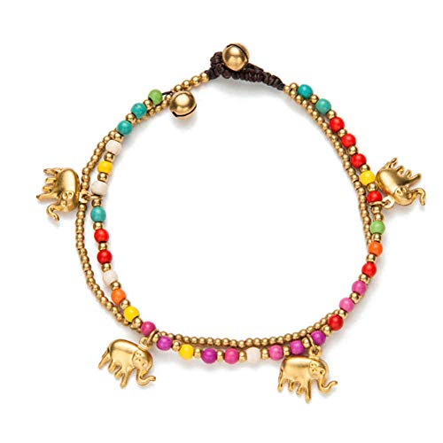JLDMAI Handmade Gold-Color Elephant Charm Fußkettchen Für Frauen Bunte Perlen Kette Knöchel Armband Am Bein Fußschmuck