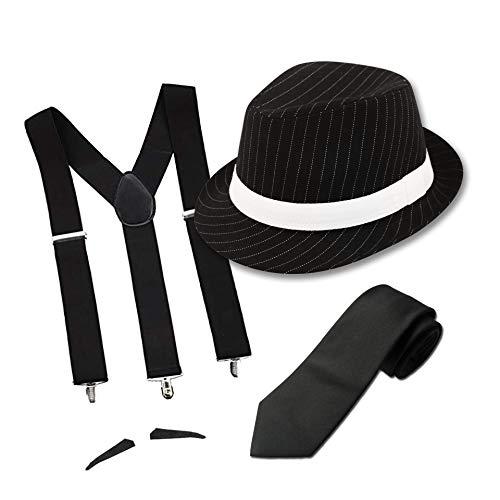 FancyDressFactory Erwachsener Gangster-Kostüm-Nadelstreifen-schwarzer Hut mit Krawatte und Schnurrbart - Nadelstreifen Kostüm