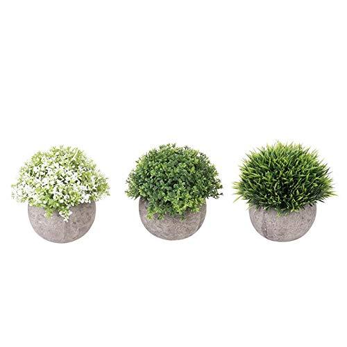 WINOMO 3 pcs Mini Plastique Faux imitation Herbe verte Simulation plantes artificielles avec pots pour décoration de maison