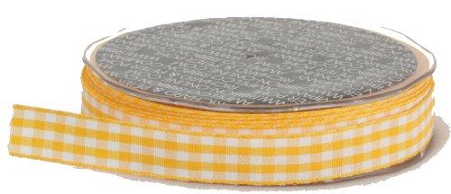 Ampelco Ribbon Company Vichy Check 27-Yard Ribbon, 5/8-Inch, Yellow/White Woven Edge
