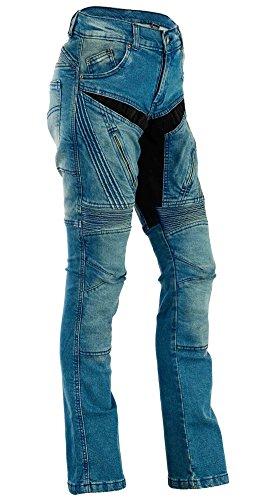 Bangla Damen Motorrad Hose Motorradhose Jeans Denim mit Protektoren blau 36 inch
