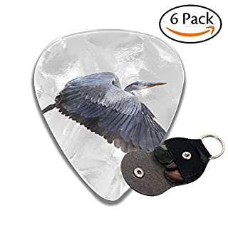 Wxf Great Blue Herons Ardea Herodias In Flight Isolated On White Stylish Celluloid Guitar Picks Plectrums For Guitar Bass 6 Pack.96mm