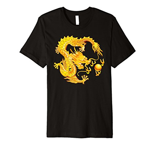 Furchtloses Goldener Chinesischer Drache Feuerkugel T-Shirt - Drachen-grafik-t-shirts