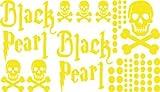 Autoaufkleber Sticker Aufkleber Set für Auto Schriftzug Black Pearl Totenköpfe (022 shellgelb)