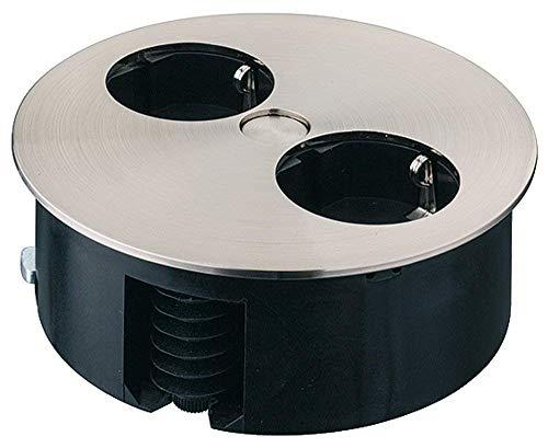 Gedotec Möbel-Einbau-Steckdose drehbar Steckdosenleiste in Edelstahl-Optik für Tischplatten & Arbeitsplatten | 2-fach Steckdose versenkt | 230 V | 1 Stück - Design Tischsteckdose rund zum Einlassen -