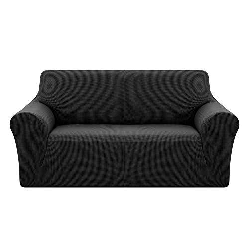 Deconovo copridivano 2 posti elasicizzato antiscivolo fodera protettiva per divano nero