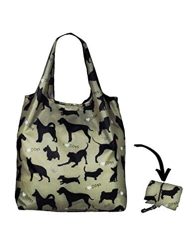 re-uz Lifestyle Shopper faltbar wiederverwendbar Einkaufstasche Lebensmittels Tasche–I love dogs Salbei (Salbei Tasche)