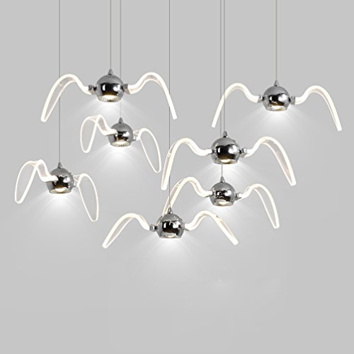 Personalisierte Kreative Pendelleuchte Modern 9W LED Wohnzimmerlampe Chrom Metall Möwe Design Kronleuchter Innenbeleuchtung Hängeleuchte Klar Acryl Lampenschirm Hängelampe für Esszimmer 1-flammig , weißes Licht