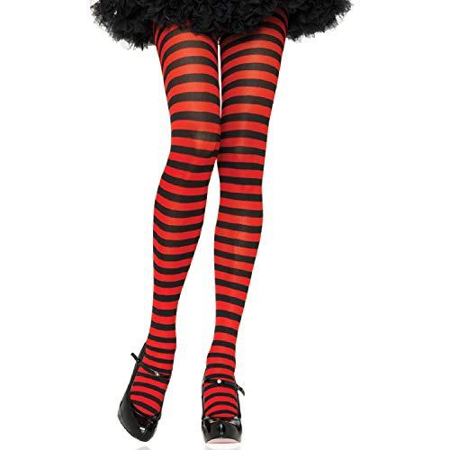 Leg Avenue 7100Q - Plus Größe Gestreiftes Strümpfhose Kostüm Damen Karneval, schwarz/rot, Größe: (EUR 42-46)