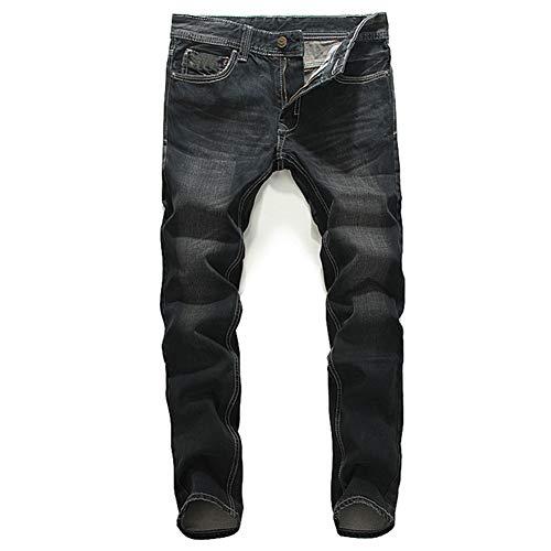 Preisvergleich Produktbild Männer Jeans Slim Fit Mid-Rise-Hose Gerade Schlank Bleaching Gewaschen Vier Jahreszeiten Wild Herren Business Jeans, 38
