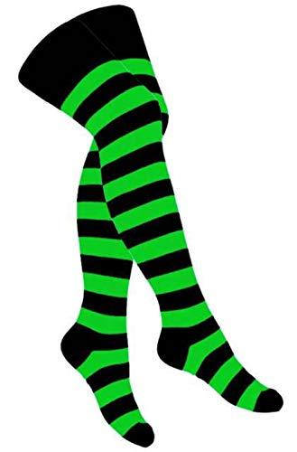 Doktor Hardstuff Overknee Socken Neon Grün Geringelt - Netzstrumpfhose Neon-grün