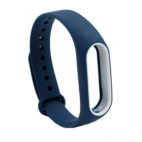 XIHAMA pour Xiaomi Miband 2 Bracelet, dragonne Smart Band en Acier Inoxydable/Silicone pour Miband2 (Dark Blue)