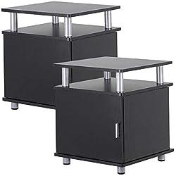 Yaheetech 2 Tables de Chevet Paire de Tables de Nuit Meuble de Chambre à Coucher Canapé 45 x 45 x 53,5 cm (L xlxh), en MDF, Noir