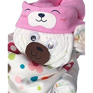 Windelgeschenk + BEANIE + DREIECKSTUCH Mädchen -> Windelgeschenk Mädchen -> Windeltorte -> Geschenk zur Geburt -> WINDELBÄR HANDMADE MADE IN GERMANY-> Pampers Gr. 3 süß einzigartig (rosa Gr. 3)