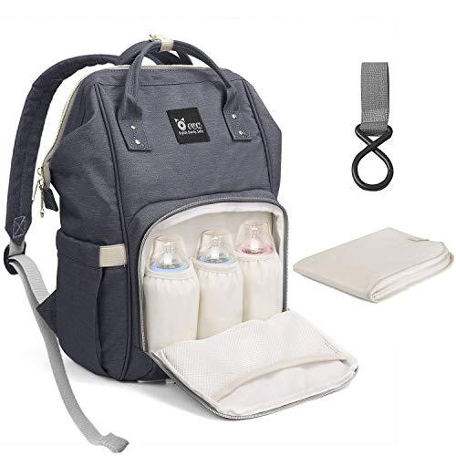 Ofun zaino mamma fasciatoio bambino, mamma multifunzione a grande capacità, borse per pannolini da viaggio grigio