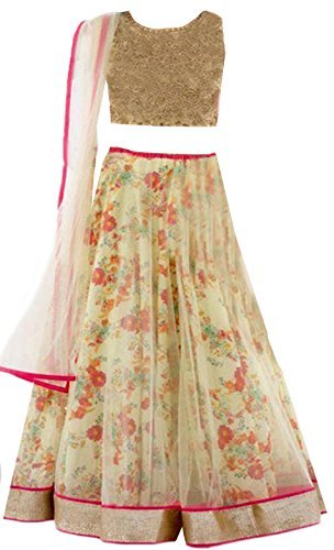 Clickedia Kids Heavy Net Embroidered Beige Lehenga with matching blouse pc - traditional wear ( 8-11 yrs)- Semi-Stitched alterable