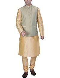 KISAH Men's Beige Silk Blend kurta and Churidar with Green Cotton Silk Nehru Jacket