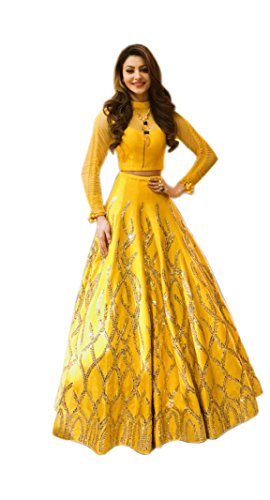 Treadindia yellow color semistich embroidery work lehenga choli for women party wear...