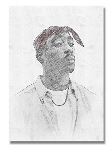 Ay Arts | 2Pac Poster [Limitiert] - hochwertige Zeichnung von Tupac Shakur (59,4 x 84 cm) | Schwarz Weiß Bleistift Plakat - Hip Hop Rap (2pac Bilder)