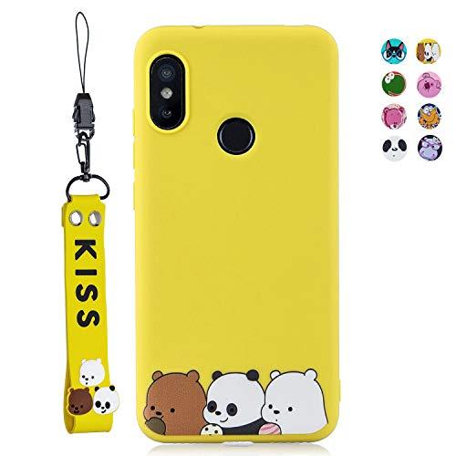 ChoosEU Compatible para Funda Xiaomi Redmi Note 6 / Note 6 Pro Silicona Dibujos Oso Panda Carcasas para Chicas Mujer Niño, Case Blando Resistente Antigolpes Caso Cordón con Correa - Pandas Amarillos