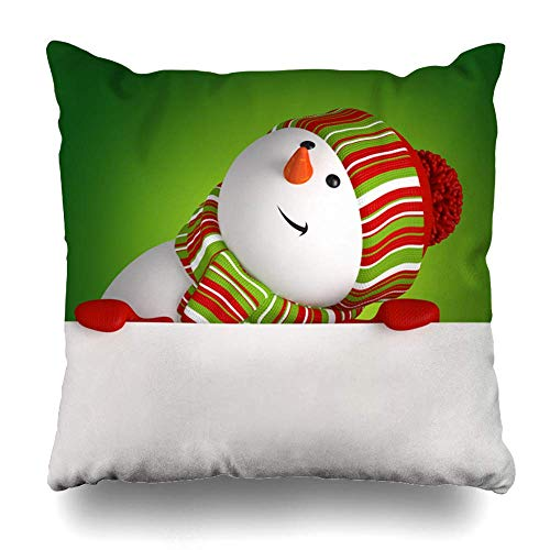 Klotr Decorative Kissenbezug Cap Snowman Looking Holidays Merry Board Label Creative Graphic Funny Feast Home Decor Pillowcase Square Size 18 X 18 Inches Cushion Case
