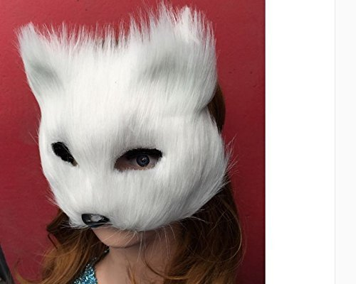 Halloween Party Halloween Horror Masks Cosplay Festival Performance Props Halloween Supplies Bar Dance Prom Dress Mask Animal Masks Caps Fox Mask White Half Face Animal Masks by sell in