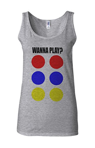 Wanna Play Game Funny Novelty White Femme Women Tricot de Corps Tank Top Vest Gris Sportif