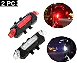 Lukzer 2 PC Bicycle Rechargeable Tail Lights & Head Light for Cycle Super