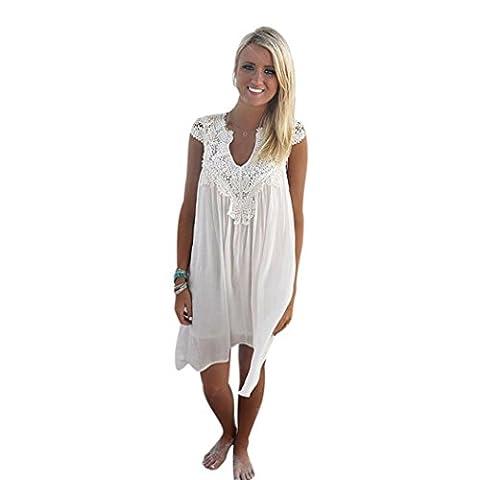 Transer ® Robe en dentelle Fashion Party BOHO en mousseline de soie sans manches col V Femmes en vrac Summer Beach(S-XL) (M, Blanc)