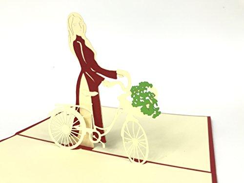 3D Karten Girl Riding auf Holender weiß Fahrrad mit Korb der Blumen Vintage Fahrrad, neuen Grußkarte, Dank Sie Pop-Up-Grußkarte, Kirigami Papier Craft, Postkarten, Celebration, Gratulation. (Kids-spa-korb)
