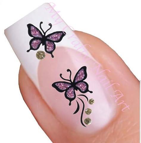 Rose et or papillon paillettes adhésifs autocollants pour nail art