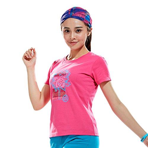 Femmes Sport Extérieur Camping Randonnée Escalade T chemises à manches courtes en coton Tés Tops Roseo