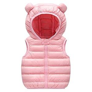 Bebé Chaleco de Abajo Niños Niñas Chaleco de Plumas Invierno Encapuchado Chaquetas Acolchado Ligero Sin Mangas Abrigo 9