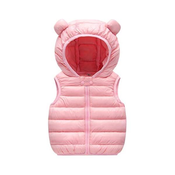 Bebé Chaleco de Abajo Niños Niñas Chaleco de Plumas Invierno Encapuchado Chaquetas Acolchado Ligero Sin Mangas Abrigo 1
