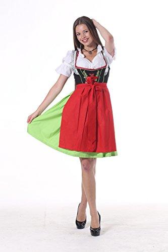 Oscartrachten, 3tlg. Dirndl-Set - Trachtenkleid, Bluse, Schürze - Dirndl midi rot, grün-schwarz rot, grün und schwarz