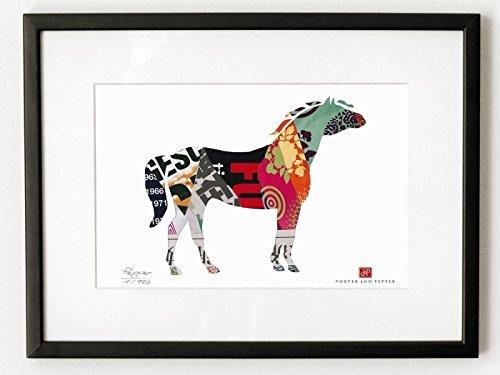 Ein stolzes Pferd – Kunstdruck nach Collage P22, limitiert auf 120 Stück. Vom Künstler signiert und nummeriert, im Schrägschnitt-Passepartout A4 oder 30x40 cm (P22 Art)