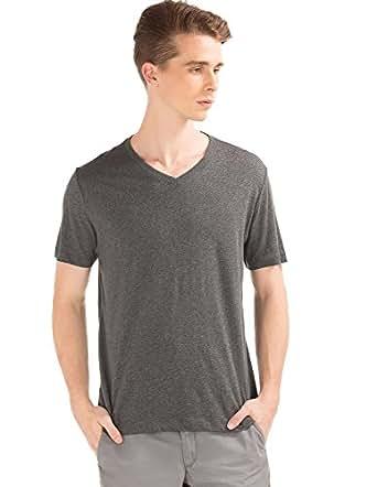 GAP Men's Short Sleeve Essential V Neck Tee (121768600001_76863893102_XS_Dark Charcoal)