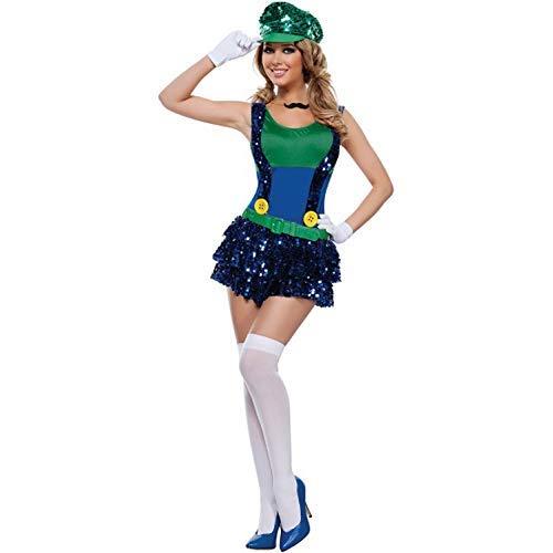 HaoLiao Cosplay Kostüm, Game Uniformen Frauen Pailletten Super Mario Sets Cosplay Kostüme mit Einer einzigartigen Original-Ring FXXK ()