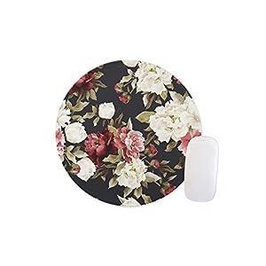 Rundes Mauspad, Retro-Design, mit Blumenmuster, personalisierbar, rutschfestes Gummi-Mauspad, Gaming-Mauspad