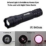 Torcia LED a infrarossi, torcia LED a infrarossi, Osram IR 940, visione notturna, messa a fuoco regolabile con zoom, utilizzabile con dispositivi da caccia con visione notturna, Vastfire