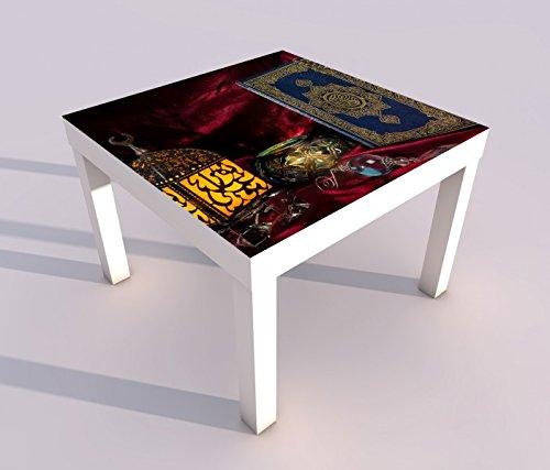 Design - Tisch mit UV Druck 55x55cm Türkei Koran Buch rot türkisch Islam arabische Schrift Spieltisch Lack Tische Bild Bilder Kinderzimmer Möbel 18A2698, Tisch 1:55x55cm