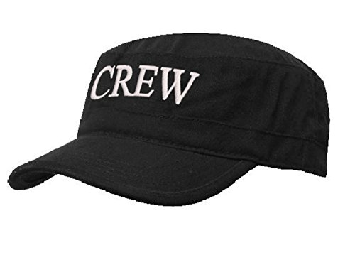 Kapitänsmütze Mütze Army Military Baseballmütze Cap Schiff Yacht Captain,First Mate,Crew,Cabin Boy,Pirate ( Crew black white) (Womens Crew Cap)