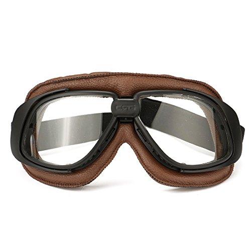 Alamor Motos Retro Gafas De Vuelo Scooter Casco A Prueba De Viento Gafas Anti-Uv Marco Marrón Claro