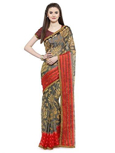 Shaily Retails Women'sMultiColor Brasso Printed Sarees (SPRKLE22104SSSR1T_Multi)