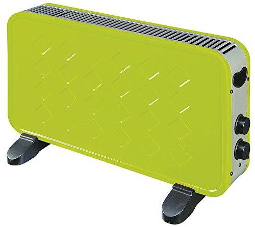 K2Calore KT0594 - Convector eléctrico (1000/2000 W, con termostato regulable, protección sobrecalentamiento, 60 x 10 x 35 cm) color verde