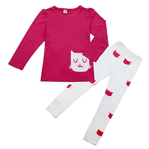 Amlaiworld Bambini Autunno Vestito,Ragazza Cute Cartoon Cat camicia + Pantaloni tuta (rosa caldo, 110)